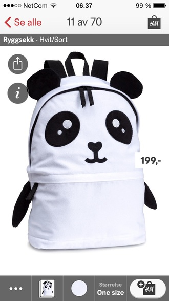 bag black whise panda cute kawaii white black and white animal girly