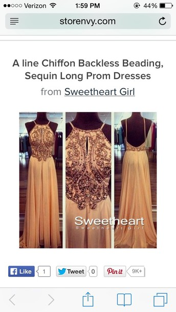 dress gold backless beading a line prom dress long prom dress