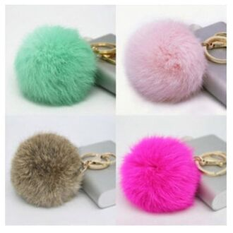 bag fur keychain fur keychain faux fur accessories accessory trendy pastel green pastel pink light pink pink brown