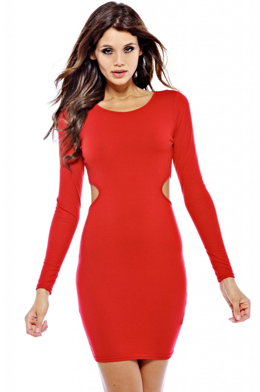 Red Long Sleeve Bodycon Dress with Side Cutout Detail