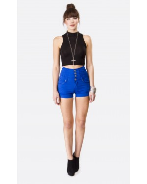 Royal Blue High Waisted Turn Up Denim Shorts | Shelikes