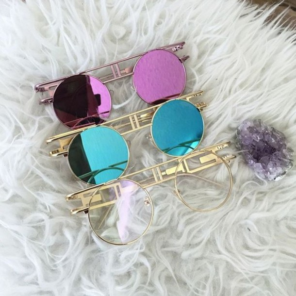 sunnies eyewear  Sunglasses: gold soul, cute sunglasses, mirrored sunglasses, color ...
