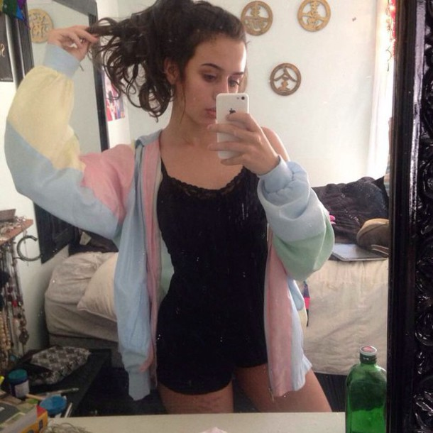 jacket pastel yellow pink blue multicolor clothes fashion tumblr outfit tumblr sweater tumblr colorful cyber ghetto grunge romper