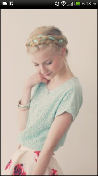blouse green mint lace shirt floral print shirt mint shirt