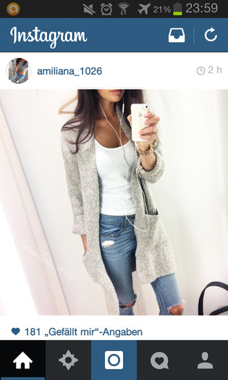 cardigan jeans top