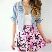 skirt,flowers,pink,white,floral,print,cute,dress,nail accessories,nail polish,jacket,coat,shoes,shirt