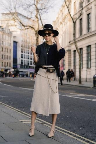 skirt midi skirt white skirt knitted skirt sweater black sweater shoes sunglasses bag belt bag hat
