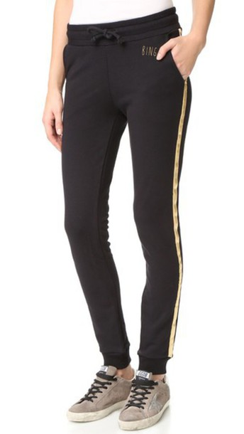 Anine Bing Sweatpants With Gold Stripes - Black