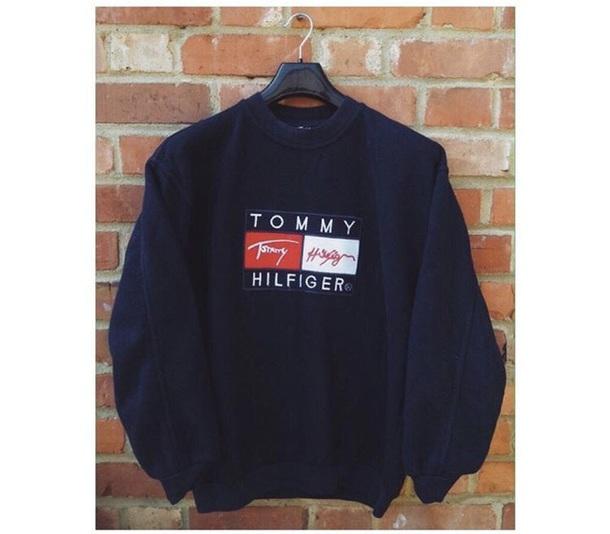 825b0d1e sweater, tommy hilfiger, tommy hilfiger vintage, black, blue, dark ...