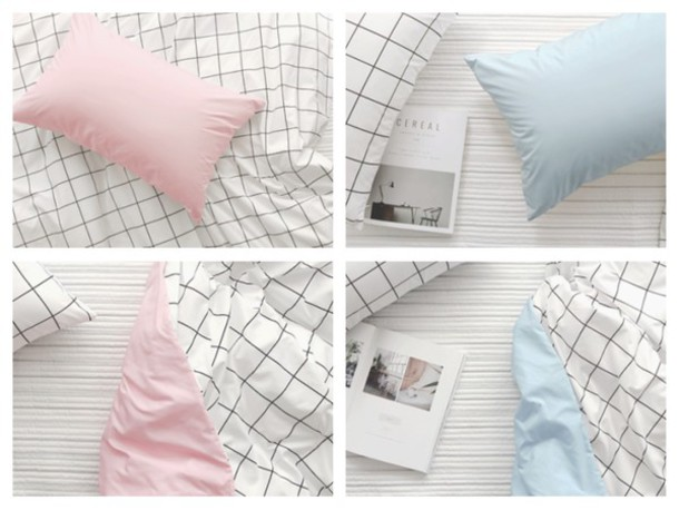 Home accessory pastel pink pastel blue grid bedding for Room planning grid
