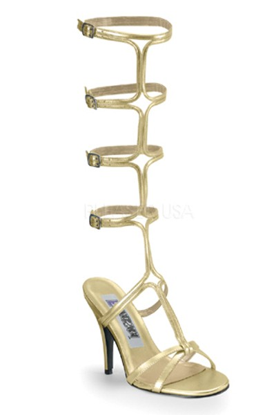 Gold Faux Leather Multi Buckle Gladiator Heels