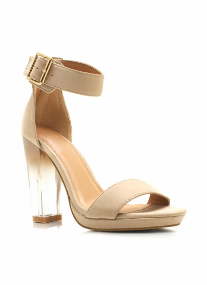 Dip-Dye Open Toe Heels $35.90 in BLACK NUDE - Restocks | GoJane.com
