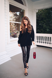southern curls and pearls,blogger,shoes,bag,sweater,leggings,jewels,make-up,fall outfits,black sweater,sparkly pants,red bag,sandals,high heel sandals,glitter,glitter leggings,disco leggings,sequins,sequin leggings,knit,knitwear