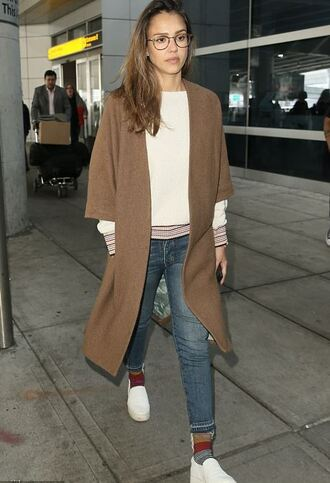 jacket sweater coat sneakers jessica alba jeans