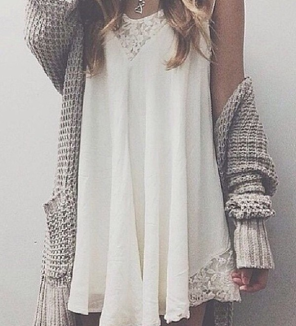 white dress cardigan flowy dress hipster fall outfits