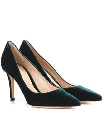 pumps velvet green shoes