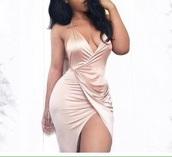 dress,satin dress,blush pink,bodycon dress,v neck dress,silk dress,plunge neckline,blush,long,slit,silk,beige,short dress