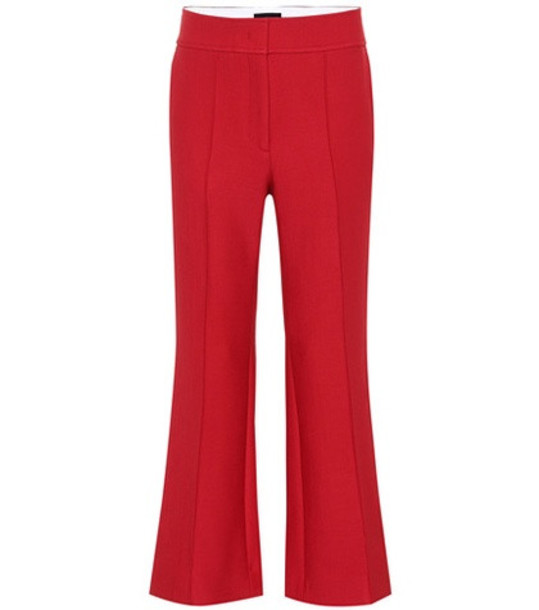 Joseph Wool-blend high-rise flared pants in red