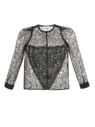 blouse long lace black top