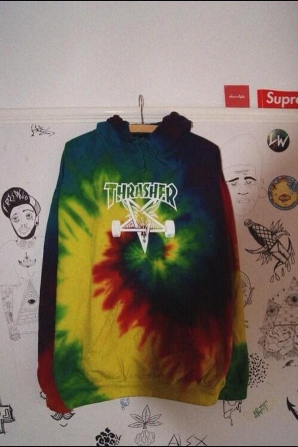 jacket hoodie thrasher tie dye