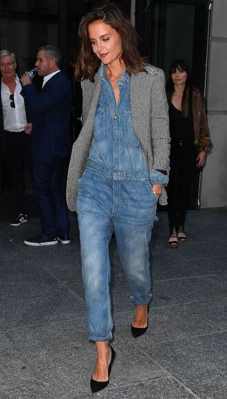 jumpsuit denim katie holmes pumps ny fashion week 2017 fashion week nyfw 2017 fall outfits streetstyle