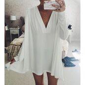 dress,low cut dress,v neck dress,cape dress,white dress,sundress,long sleeve dress,pleated dress,white sun dress