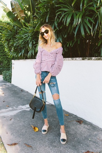 top striped top shoes tumblr red top wrap top stripes denim jeans blue jeans ripped jeans skinny jeans espadrilles