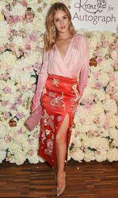 skirt,midi skirt,blouse,slit skirt,rosie huntington-whiteley,model,pumps,top