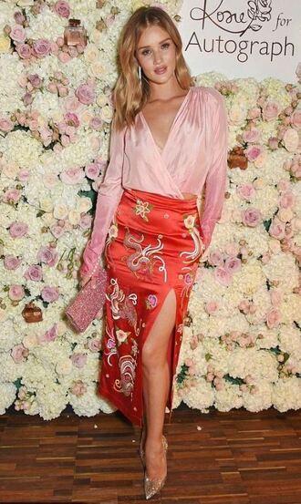 skirt midi skirt blouse slit skirt rosie huntington-whiteley model pumps top