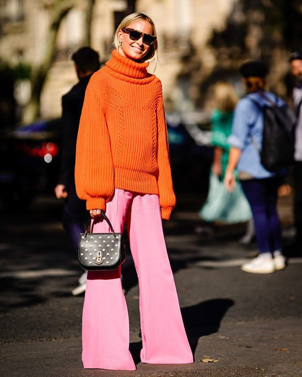 sweater turtleneck pants pink pants orange