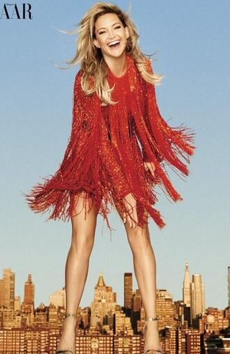 dress fringes fringed dress kate hudson editorial