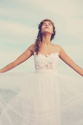 dress,floral,flowers,lace,white,cute,lovely,beautiful,pale,love,sweet,gorgeous,white lace dress,gown,tulle skirt,light pink,prom dress,evening dress,hipster wedding,jewels,necklace,gold,turquoise,mint