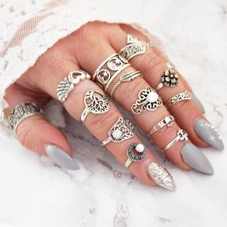 jewels cherry diva knuckle ring ring silver silver ring silver jewelry boho jewelry
