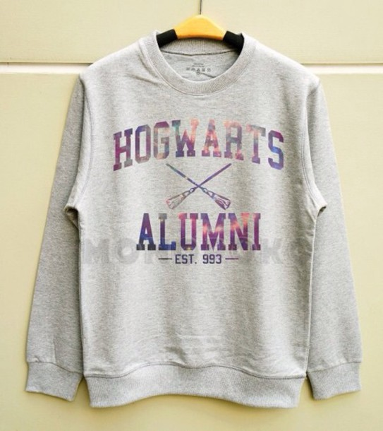 sweater harry potter sweater hogwarts sweatshirt galaxy print grey sweater