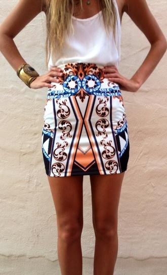 skirt mini skirt orange blue white hot trendy preppy cute short bodycon bodycon skirt jewels tank top aztec skirt rad pattern white skirt aztec cute skirt vintage modern