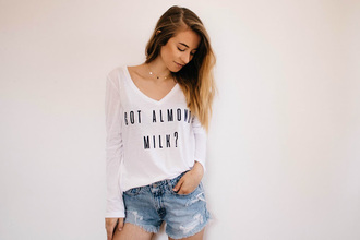 t-shirt blogger blogger style mini shorts denim shorts casual slogan t-shirts