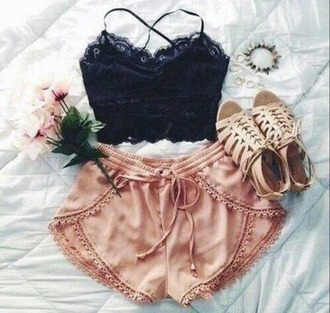 shorts top bralette shoes sandals summer outfits summer