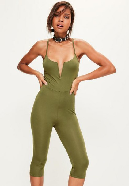 Missguided Khaki V Bar Strappy Jersey Cropped Unitard Romper