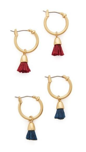 tassel earrings hoop earrings navy burgundy jewels