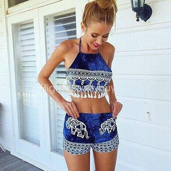Women s Elephant Print Blue Fringe Halter Tops Shorts Set -  13.40 4e017bf1b