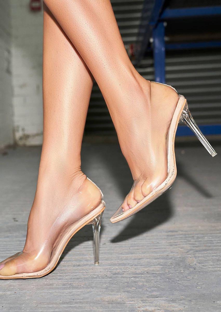 Rita Nude Perspex Pointed Heels