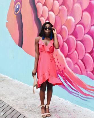 dress tumblr ruffle ruffle dress wrap dress pink dress sandals sandal heels sunglasses earrings jewels