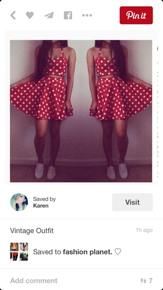 dress two piece dress set two-piece skirt style fashion skater skirt skater dress polka dots red red dress bustier crop tops