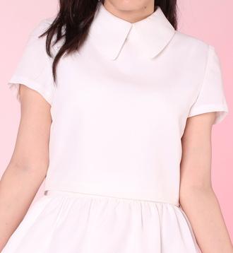 blouse girly white white dress white t-shirt collared dress collar white collar white collared top pink pastel kawaii kawaii dark white crop tops crop tops cropped cute pretty