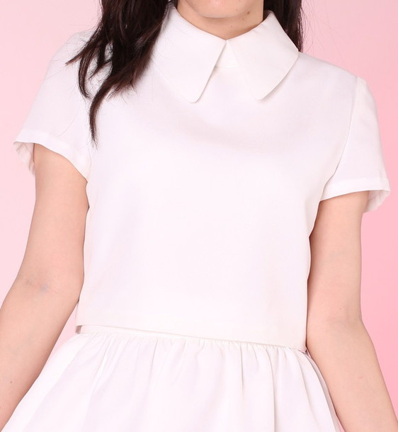 blouse girly white white dress white t-shirt collared dress collar white collar white collared top pink pastel kawaii kawaii dark white crop tops crop tops cropped cute pretty