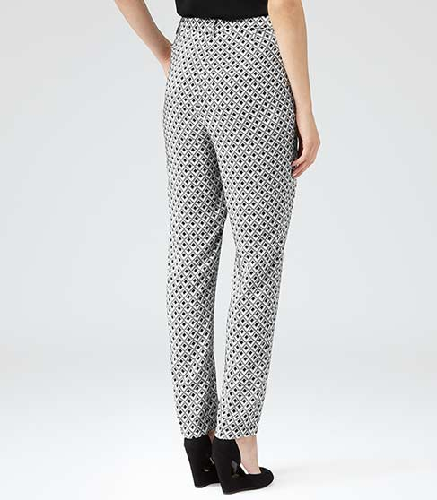 Orla Grey Geo Print Silk Trousers - REISS