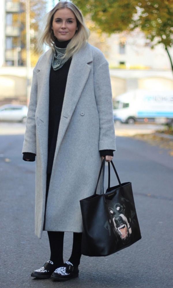 Coat: grey, long, long coat, long coat, autum, pea coat - Wheretoget