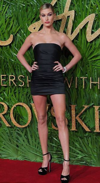 dress mini dress black dress strapless hailey baldwin sandals model off-duty little black dress