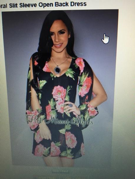 dress pink flower floral dress slit sleeves black dress flowy dress