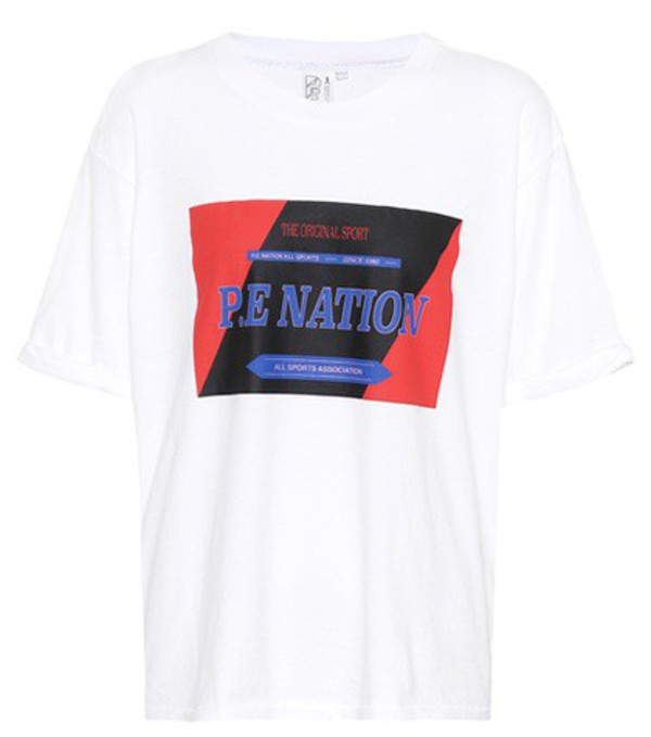 P.E Nation Forward Tee printed cotton T-shirt in white